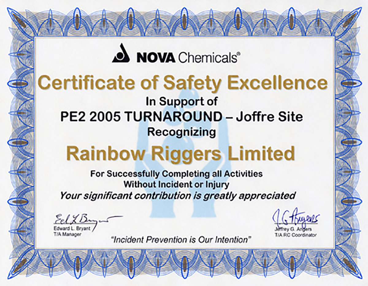 Rainbow riggers safety certifications insurance xflitez Image collections